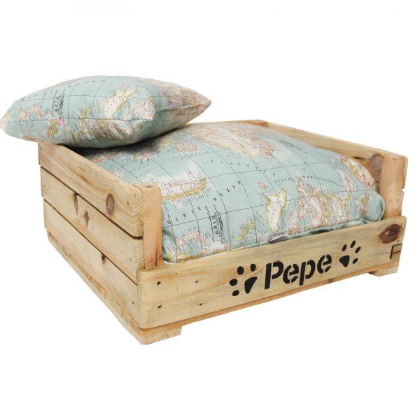 cama ara perro de madera